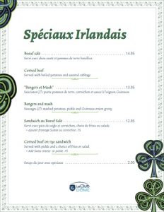 meal specials st patricks 2017