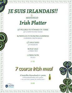 menu assiette irlandaise de la st patrick 2017
