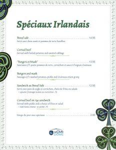 menu specials de la st patrick 2017